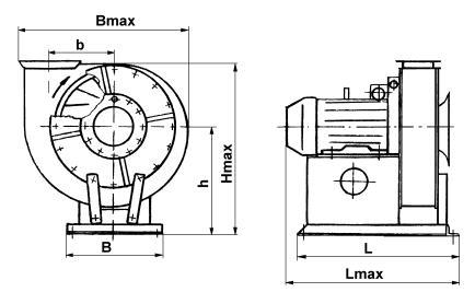Габаритные и  установочные размеры вентиляторов, мм: